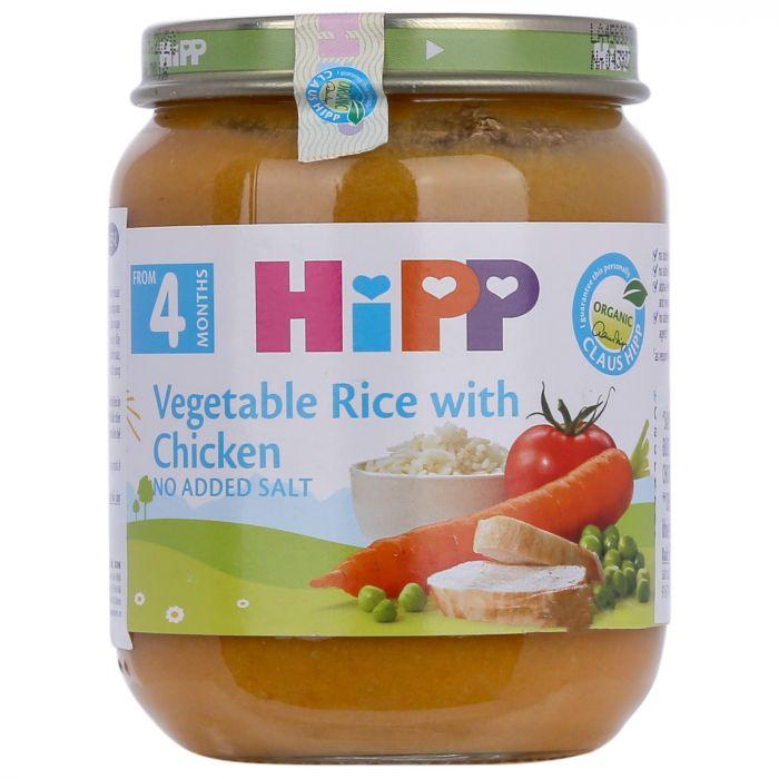 Dinh dưỡng đóng lọ HiPP Organic125g rau tổng hợp, cơm nhuyễn, thịt gà (từ 6 tháng)