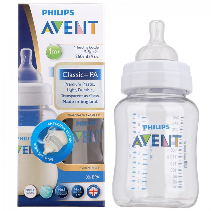Bình sữa nhựa PA Philips Avent 260ml SCF454/17 (từ 1 tháng tuổi)
