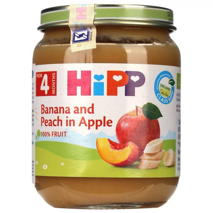 Dinh dưỡng đóng lọ HiPP Organic 125g vị chuối, đào, táo (từ 6 tháng)