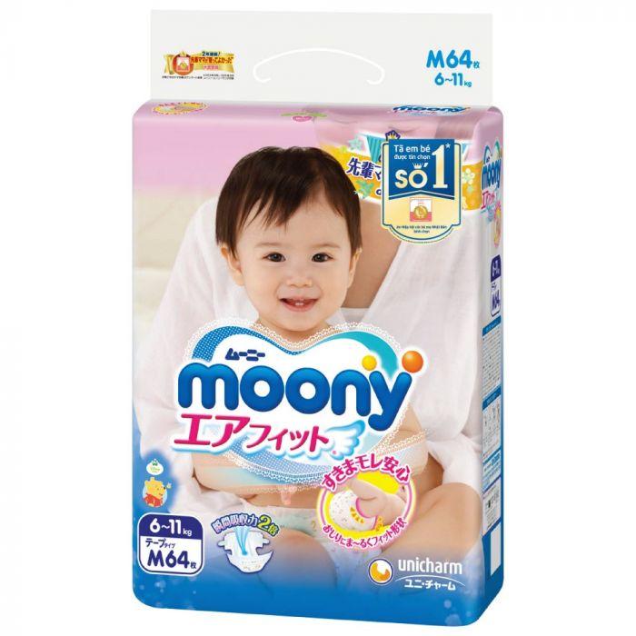 Bỉm - Tã dán Moony size M 64 miếng cho bé 6 - 11kg