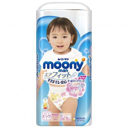 Bỉm - Tã quần Moony bé gái size XL 38 miếng cho bé 12 - 17kg