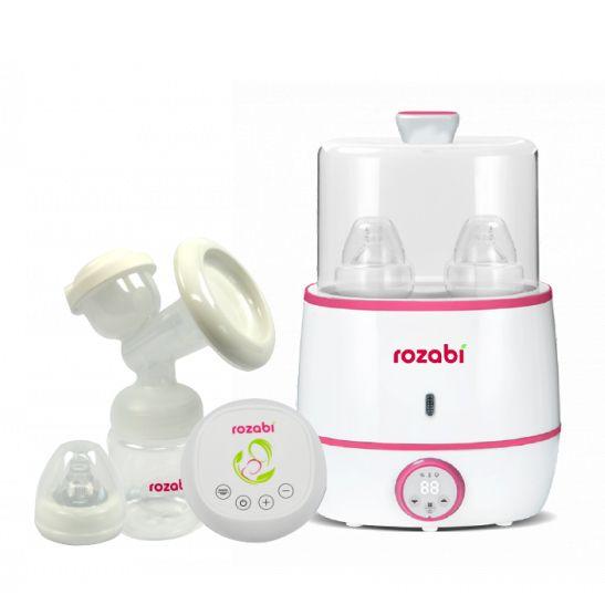 Combo máy hút sữa điện đôi Rozabi Basic + máy hâm sữa tiệt trùng Rozabi Flash (Tặng quà)