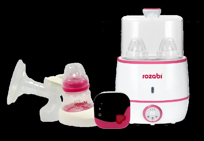 Combo máy hút sữa điện đôi Rozabi Deluxe + máy hâm sữa tiệt trùng Rozabi Flash (Tặng quà)