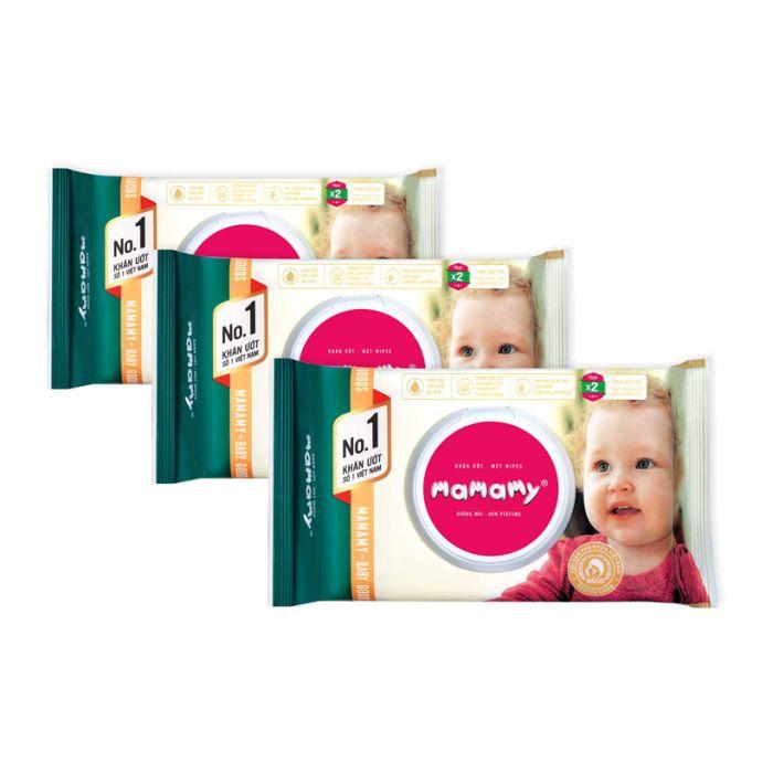 Combo 3 gói khăn ướt Mamamy 100 tờ (từ 0 tháng tuổi)