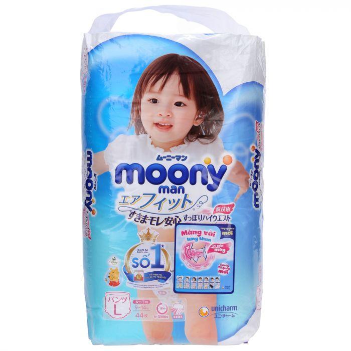 Bỉm (Tã) quần Moony bé gái size L 44 miếng (từ 9 - 14kg)