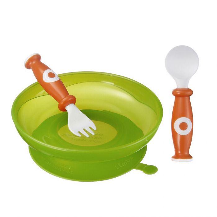 Bộ ăn dặm thìa, nĩa và chén đế cao su Simba P9604 màu xanh lá