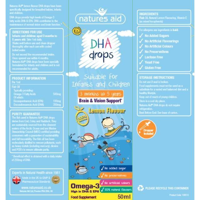Vitamin Natures Aid DHA Drops 50ml dạng giọt cho trẻ từ 3 tháng ...